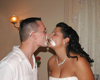 Couple with cake kiss